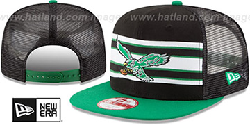Eagles 'TB THROWBACK-STRIPE SNAPBACK' Black-Green Hat by New Era
