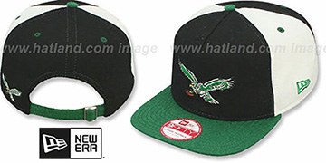 Eagles TB TRIPLE MELTON STRAPBACK Black-White-Green Hat by New Era
