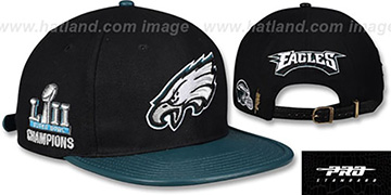 Eagles TEAM LOGO SUPER BOWL LII CHAMPS STRAPBACK Black-Green Hat by Pro Standard