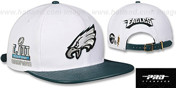 Eagles TEAM LOGO SUPER BOWL LII CHAMPS STRAPBACK White-Green Hat by Pro Standard