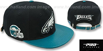 Eagles 'TEAM LOGO SUPER BOWL LII STRAPBACK' Black-Green Hat by Pro Standard