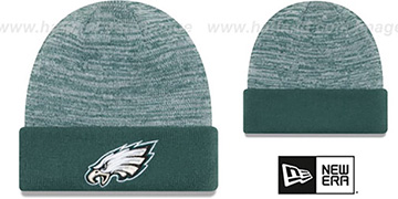 Eagles 'TEAM-RAPID' Green-White Knit Beanie Hat by New Era