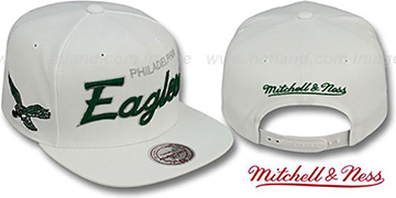 Eagles 'TEAM-SCRIPT SNAPBACK' White Hat by Mitchell and Ness