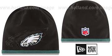 Eagles 'TECH-KNIT STADIUM' Black-Green Knit Beanie Hat by New Era