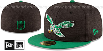 Eagles THROWBACK HEATHER-HUGE Black-Green Fitted Hat by New Era