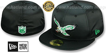Eagles 'THROWBACK SATIN BASIC' Black Fitted Hat by New Era