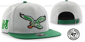 Eagles 'THROWBACK SUPER-SHOT STRAPBACK' Grey-Green Hat by Twins 47 Brand