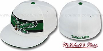 Eagles 'THROWBACK TIMEOUT' White Fitted Hat by Mitchell & Ness
