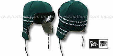 Eagles 'TRAPPER' Green Knit Hat by New Era