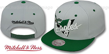 Eagles 'TRIANGLE-SCRIPT SNAPBACK' Grey-Green Hat by Mitchell and Ness