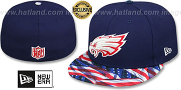 Eagles USA WAVING-FLAG Navy Fitted Hat by New Era