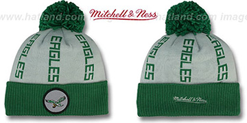 Eagles 'VERTICAL WORD BEANIE' Grey-Green by Mitchell and Ness