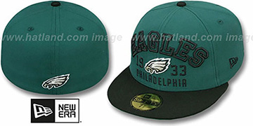 Eagles 'WORD-KNOCK' Green-Black Fitted Hat by New Era
