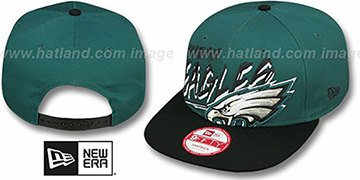 Eagles 'WORD SCRIBBS SNAPBACK' Green-Black Hat by New Era