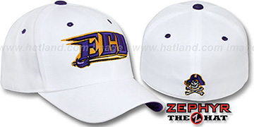 East Carolina 'DH' Fitted Hat by Zephyr - white