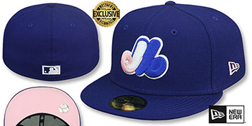 Expos 2004 COOPERSTOWN PINK LOGO BOTTOM Fitted Hat by New Era