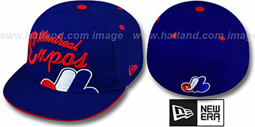 Expos COOPERSTOWN BIG-SCRIPT Royal Fitted Hat by New Era