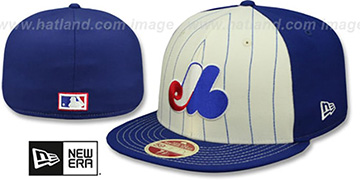Expos VINTAGE-STRIPE White-Royal Fitted Hat by New Era