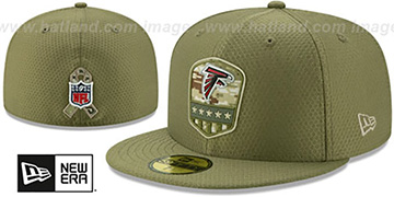 Falcons 2019 SALUTE-TO-SERVICE Olive Fitted Hat by New Era
