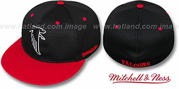Falcons '2T BP-MESH' Black-Red Fitted Hat by Mitchell & Ness