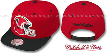 Falcons '2T XL-HELMET SNAPBACK' Red-Black Adjustable Hat by Mitchell & Ness