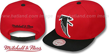 Falcons '2T XL-LOGO SNAPBACK - 2' Red-Black Adjustable Hat by Mitchell and Ness