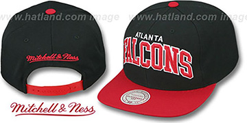 Falcons 'BLOCK-ARCH SNAPBACK' Black-Red Hat by Mitchell & Ness