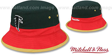 Falcons COLOR-BLOCK BUCKET Black-Red-Tan Hat by Mitchell and Ness