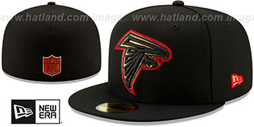 Falcons GOLD METALLIC STOPPER Black Fitted Hat by New Era