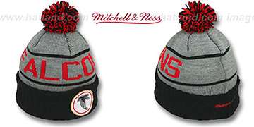 Falcons 'HIGH-5 CIRCLE BEANIE' Grey-Black by Mitchell and Ness