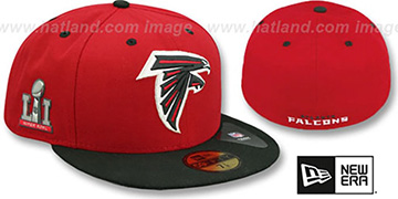 Falcons 'NFL SUPER BOWL LI' Red-Black Fitted Hat by New Era