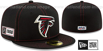Falcons ONFIELD SIDELINE ROAD Black Fitted Hat by New Era