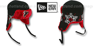 Falcons 'SNOWFLAKE TRAPPER' Black-Red Knit Hat by New Era