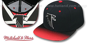 Falcons 'STOP-ON-A-DIME SNAPBACK' Black-Red Hat by Mitchell and Ness