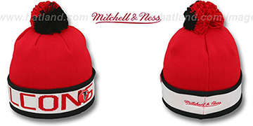 Falcons THE-BUTTON Knit Beanie Hat by Michell & Ness