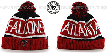 Falcons 'THE-CALGARY THROWBACK' Red-BlackKnit Beanie Hat by Twins 47 Brand