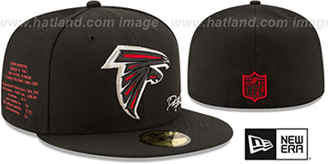Falcons THROWBACK SANDERS STATS Black Fitted Hat by New Era