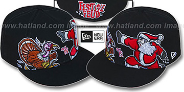 Festive Feud 'TURKEY vs SANTA' Black Fitted Hat by New Era