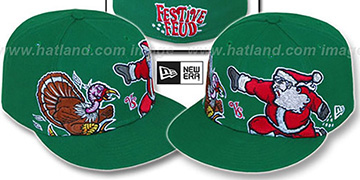 Festive Feud 'TURKEY vs SANTA' Green Fitted Hat by New Era