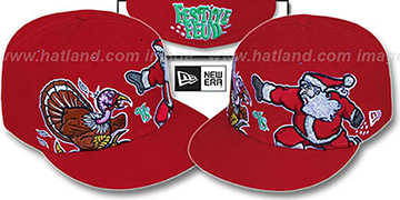 Festive Feud 'TURKEY vs SANTA' Red Fitted Hat by New Era