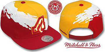 Flames PAINTBRUSH SNAPBACK Gold-White-Red Hat by Mitchell & Ness
