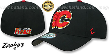 Flames SHOOTOUT Black Fitted Hat by Zephyr