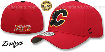 Flames 'SHOOTOUT' Red Fitted Hat by Zephyr