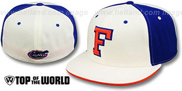 Florida 'PINWHEEL' White-Royal Fitted Hat by Top Of The World