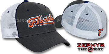Florida 'SCRIPT-MESH' Fitted Hat by Zephyr - grey-white