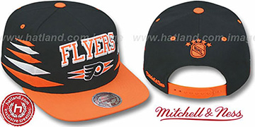 Flyers '2T DIAMONDS SNAPBACK' Black-Orange Adjustable Hat by Mitchell & Ness