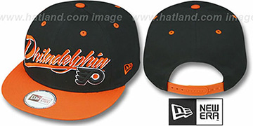 Flyers '2T NHL RETRO-WORD SNAPBACK' Black-Orange Adjustable Hat by New Era