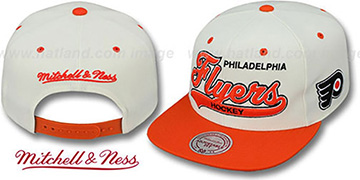 Flyers '2T TAILSWEEPER SNAPBACK' White-Orange Hat by Mitchell & Ness