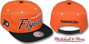 Flyers '2T TEAM-SCRIPT SNAPBACK' Orange-Black Hat by Mitchell & Ness