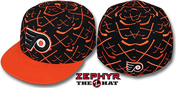 Flyers '2T TOP-SHELF' Black-Orange Fitted Hat by Zephyr